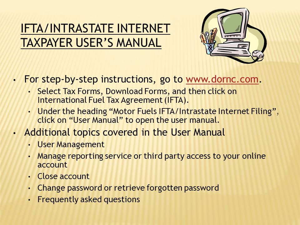 IFTA/Intrastate Internet Taxpayer User's Manual