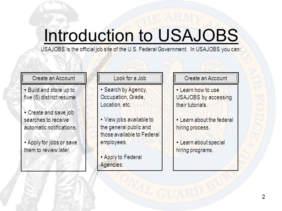 Introduction to USAJOBS USAJOBS is the official job site of the U. S