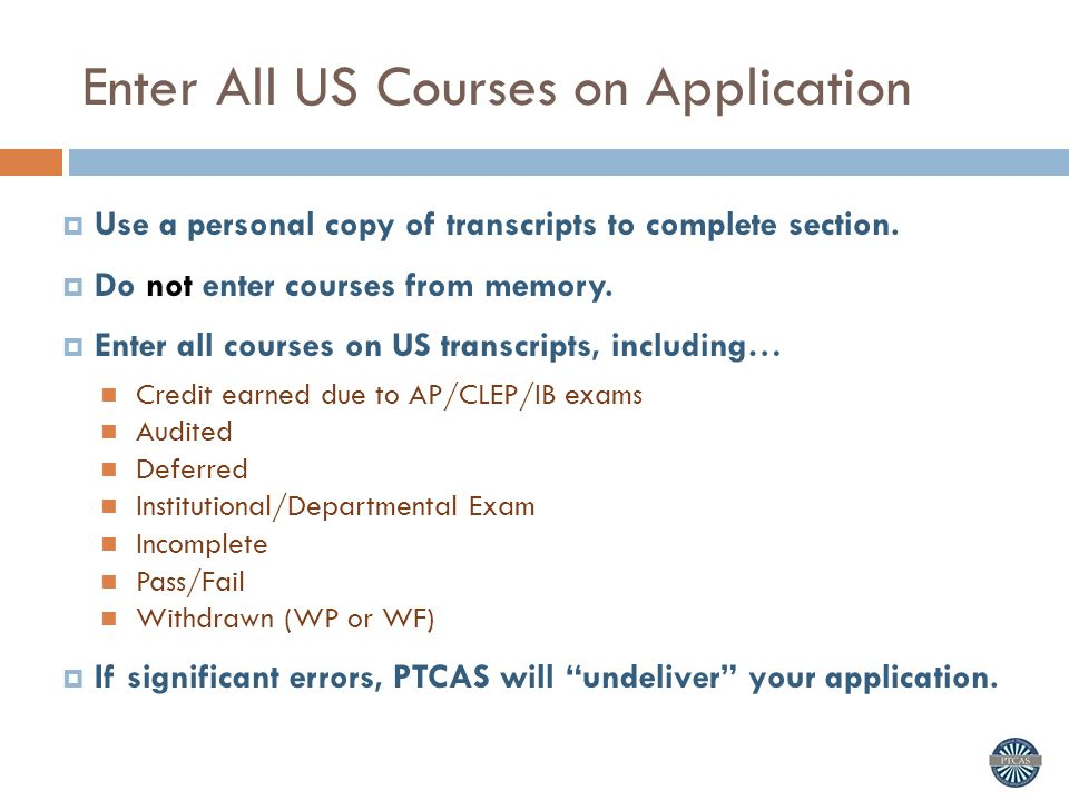 Enter All US Courses on Application