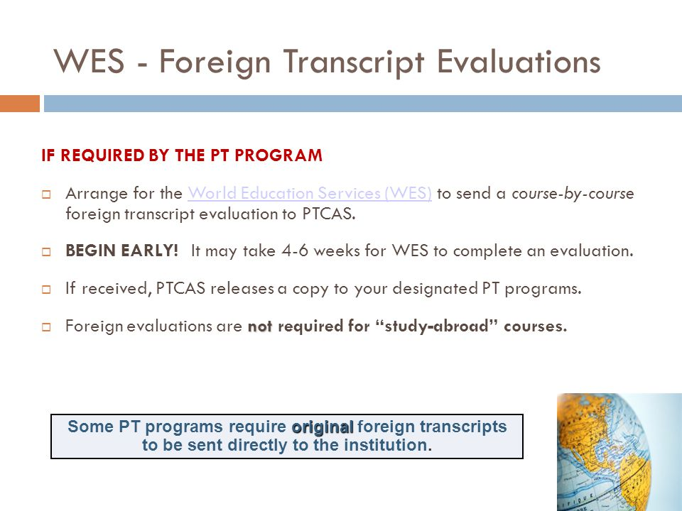WES - Foreign Transcript Evaluations