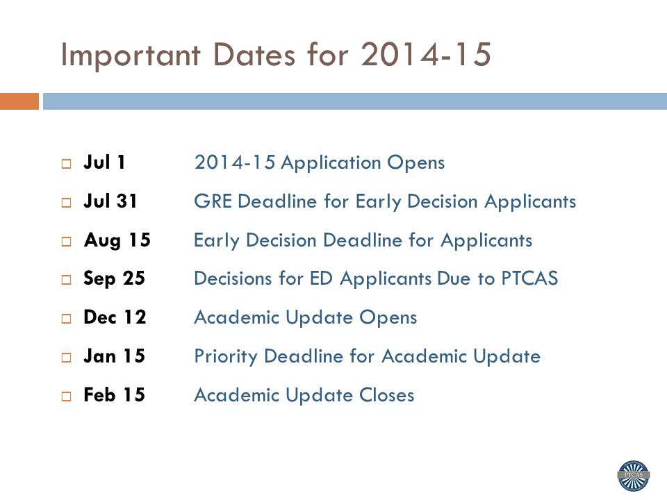 Important Dates for 2014-15 Jul 1 2014-15 Application Opens