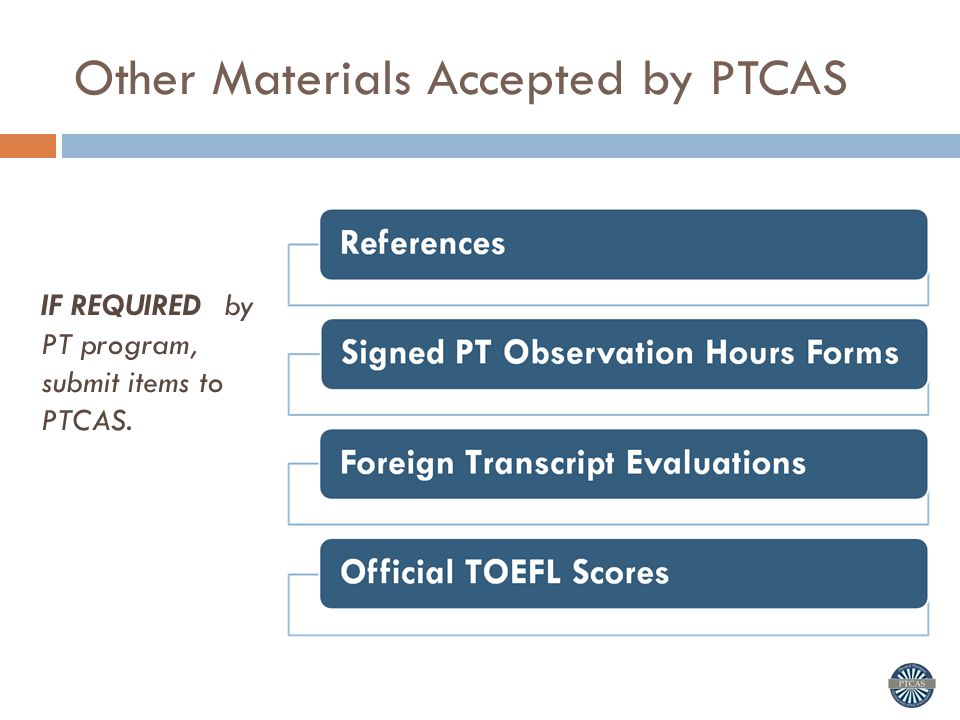 Other Materials Accepted by PTCAS