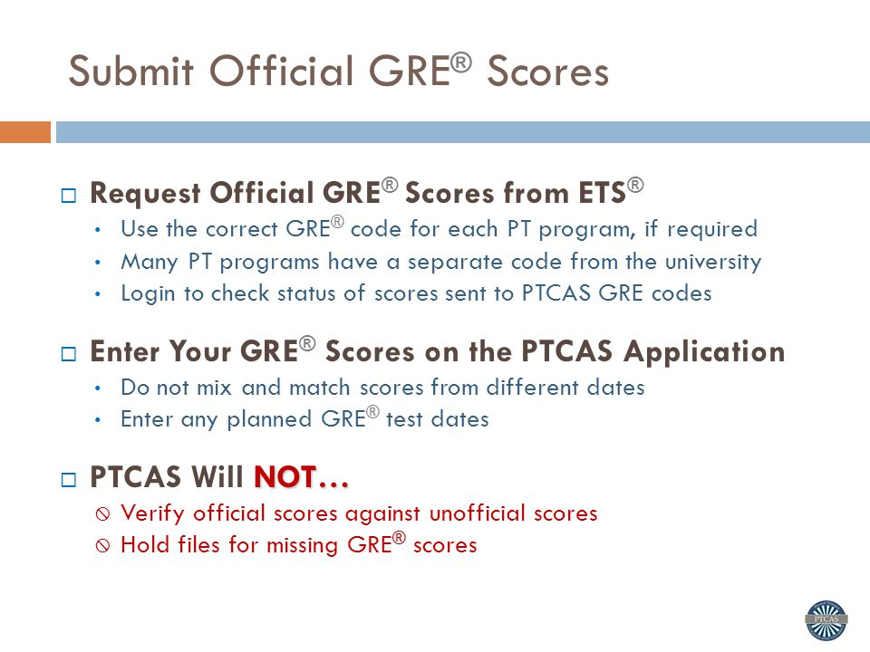 Submit Official GRE® Scores