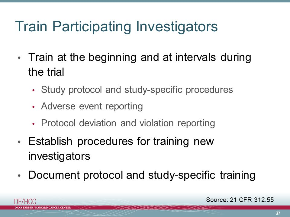 Train Participating Investigators