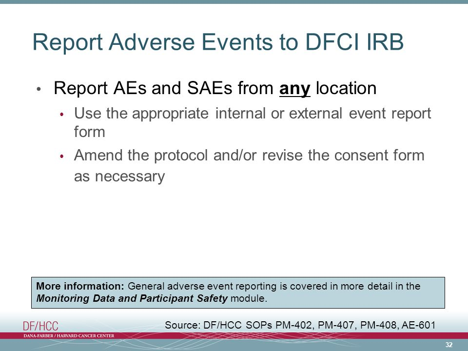 Report Adverse Events to DFCI IRB