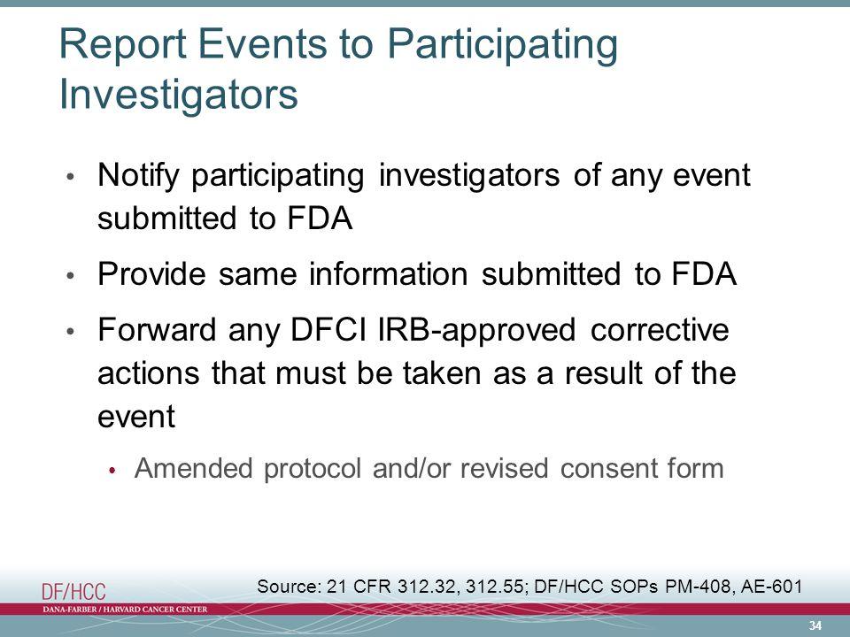 Report Events to Participating Investigators