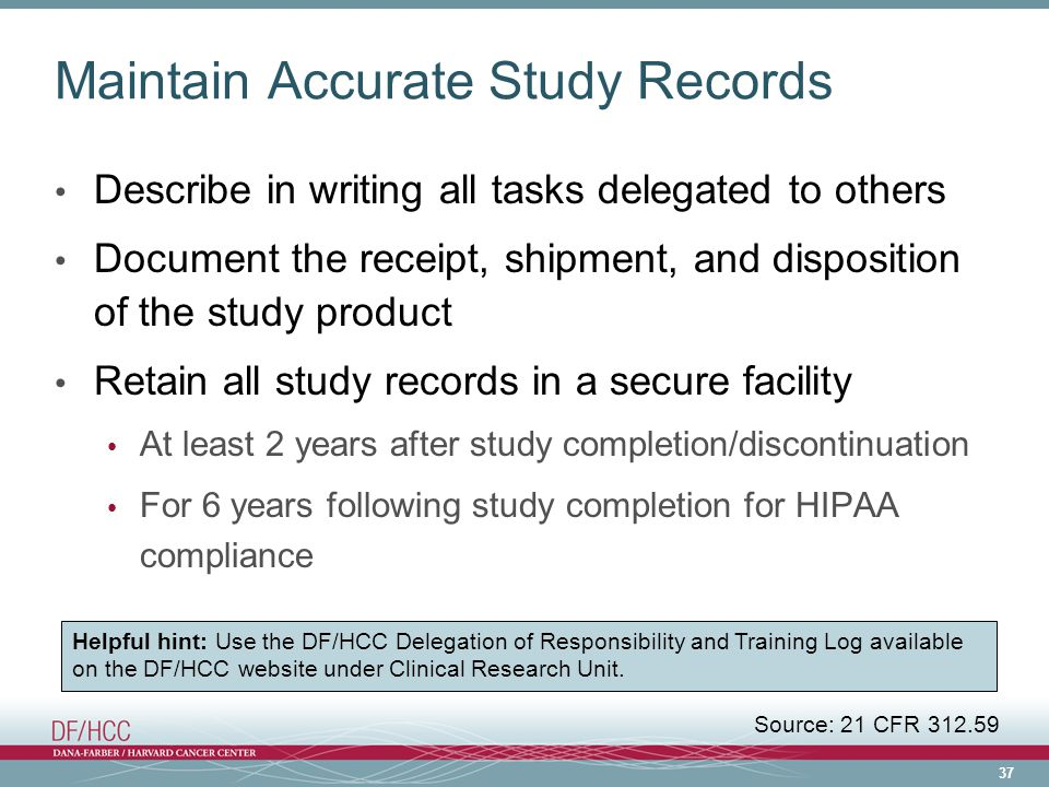 Maintain Accurate Study Records