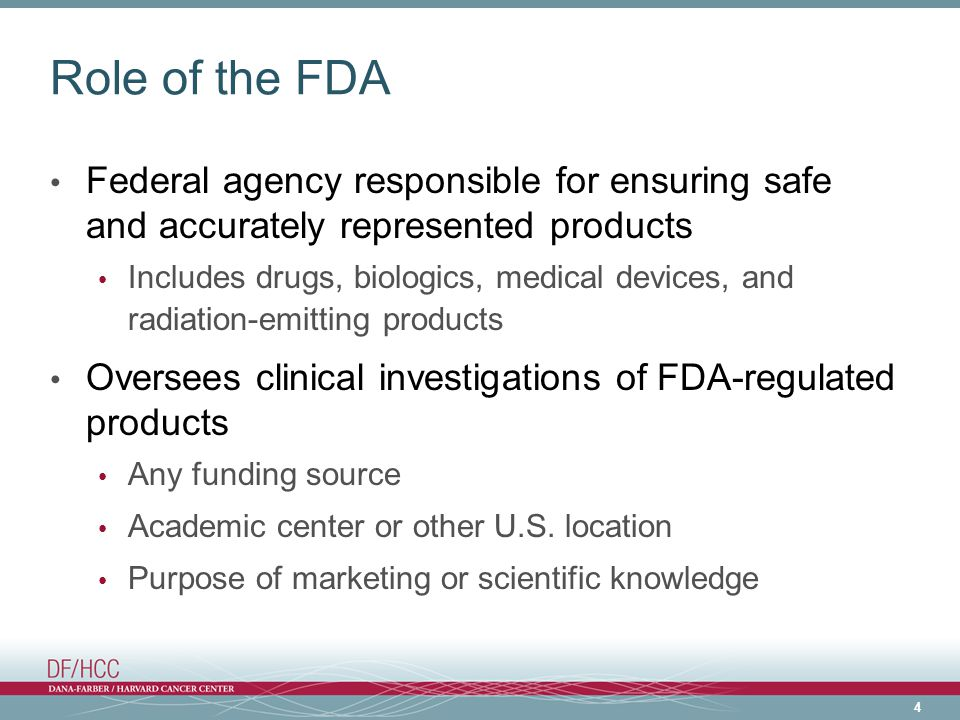Role of the FDA Federal agency responsible for ensuring safe and accurately represented products.