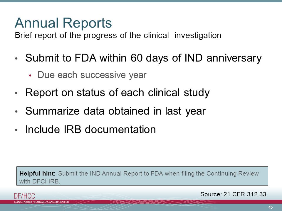 Annual Reports Submit to FDA within 60 days of IND anniversary