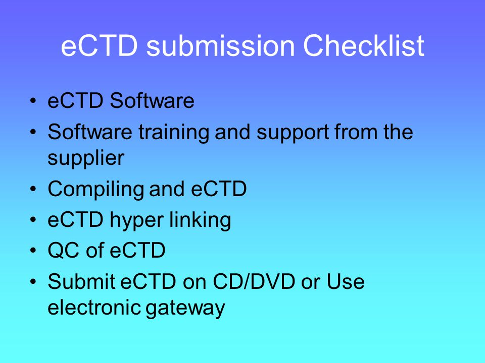 eCTD submission Checklist