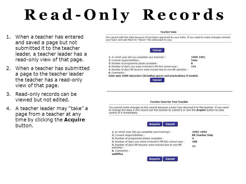 Read-Only Records