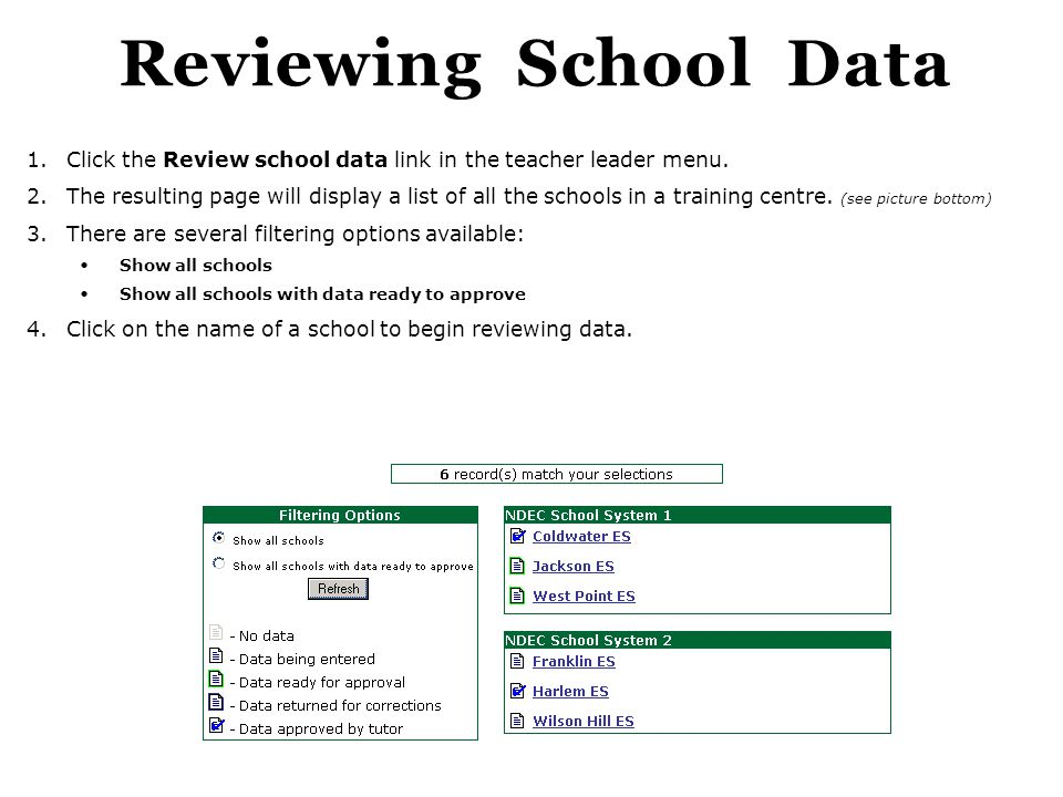Reviewing School Data Click the Review school data link in the teacher leader menu.
