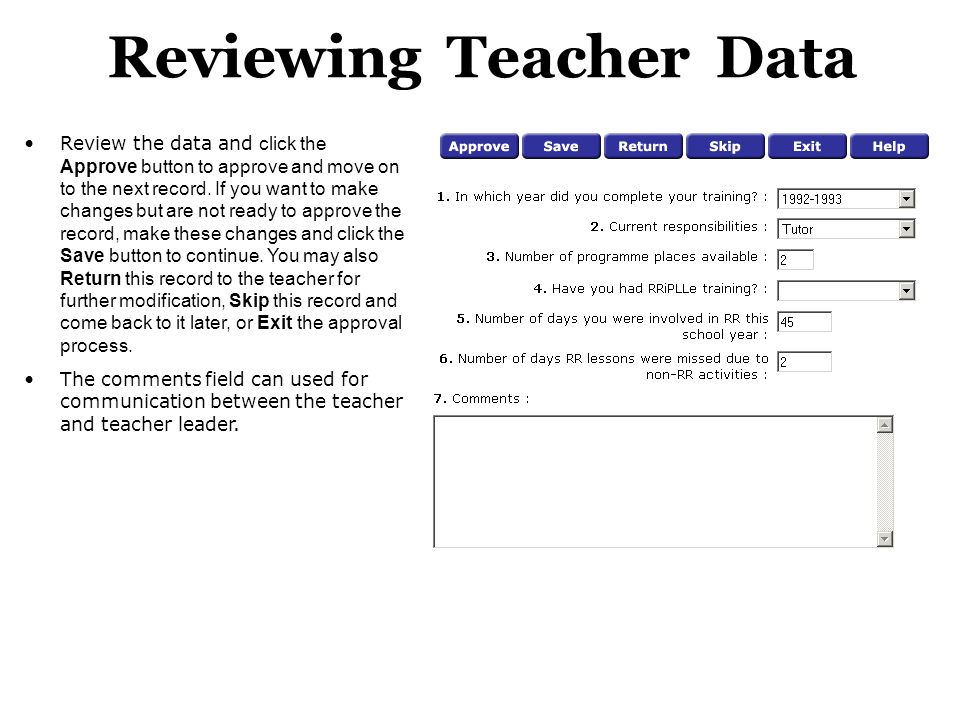 Reviewing Teacher Data