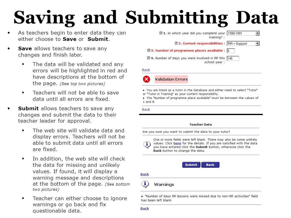 Saving and Submitting Data