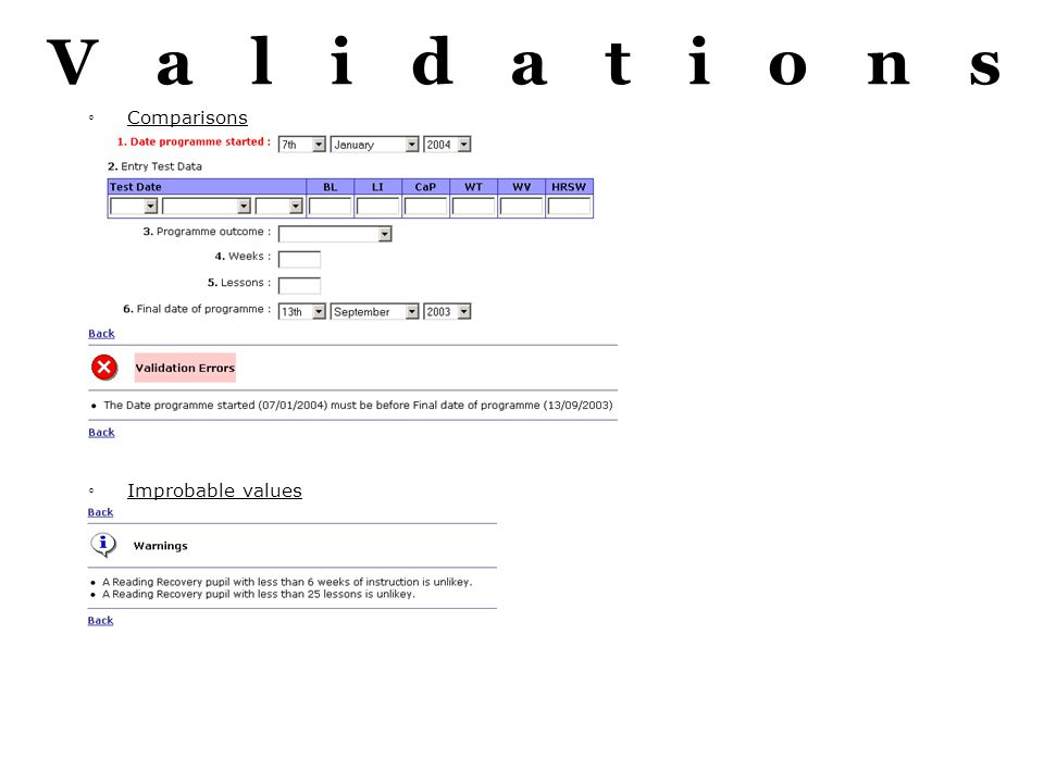 Validations Comparisons Improbable values