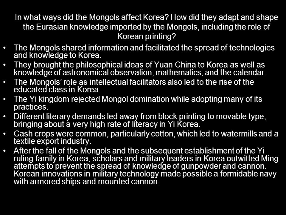 In what ways did the Mongols affect Korea