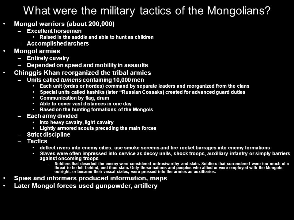 What were the military tactics of the Mongolians