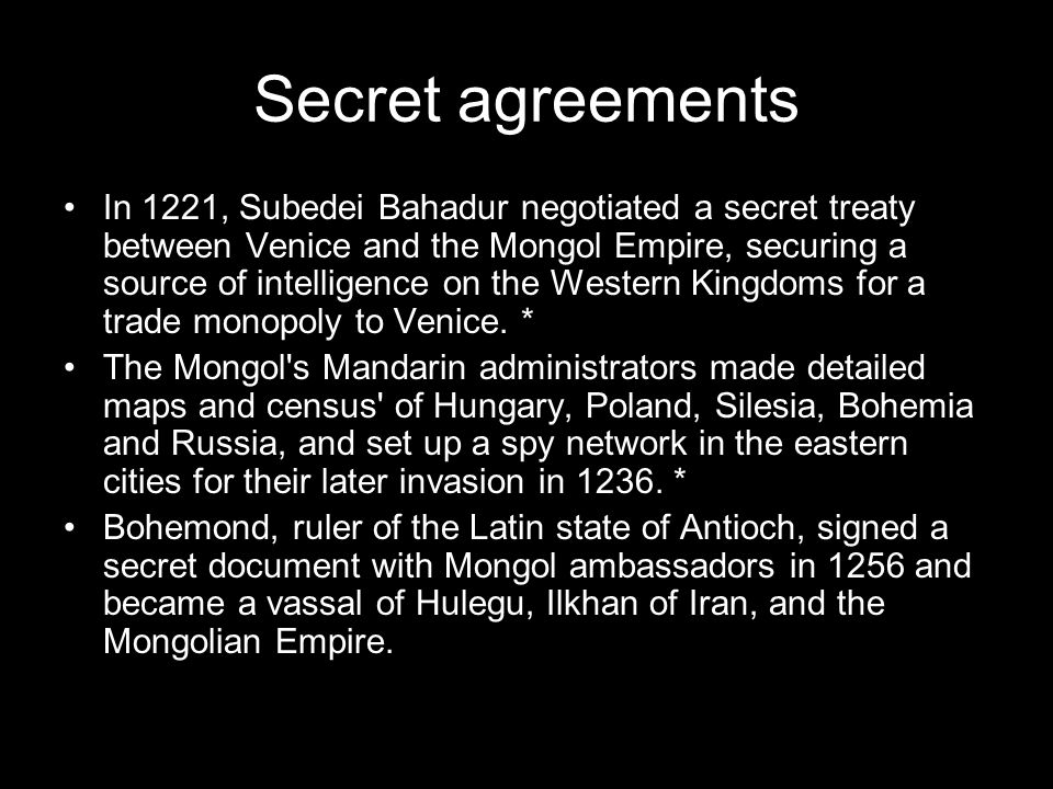 Secret agreements
