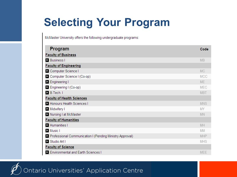Selecting Your Program
