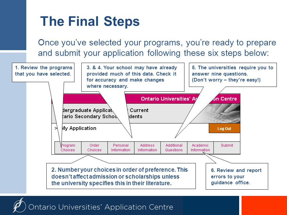 The Final Steps Once you've selected your programs, you're ready to prepare and submit your application following these six steps below: