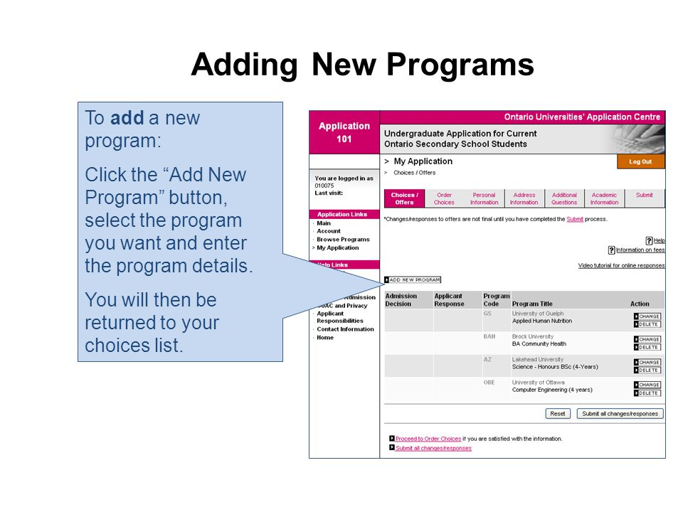 Adding New Programs To add a new program: