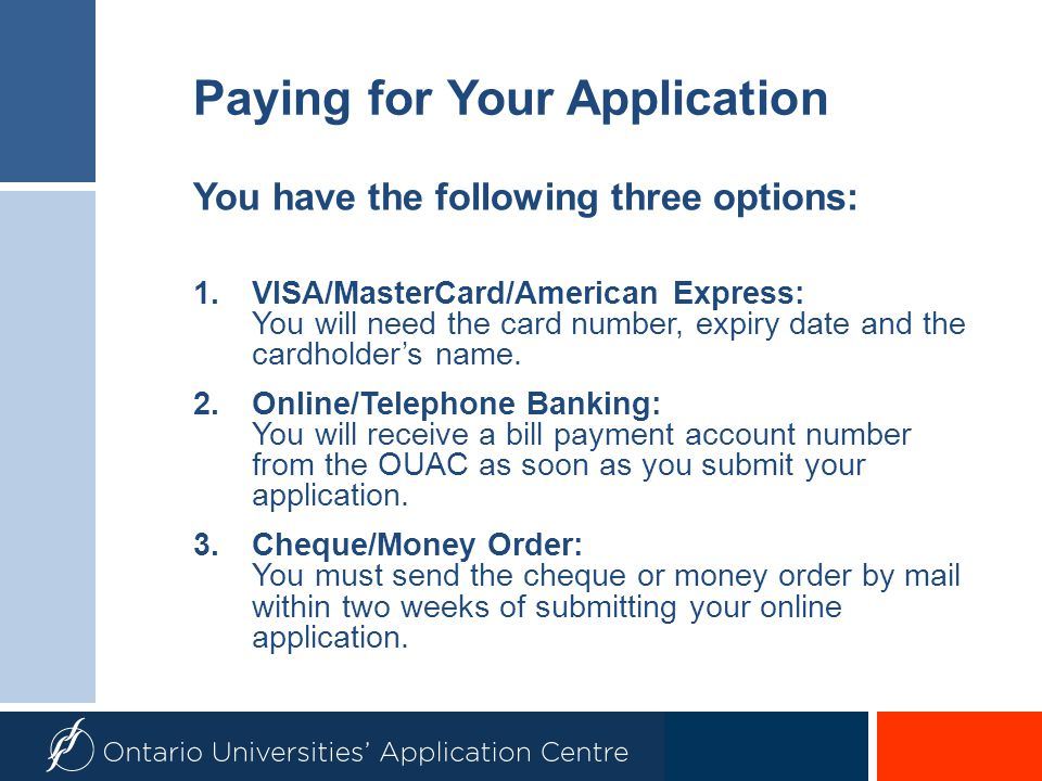 Paying for Your Application