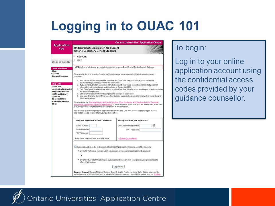 Logging in to OUAC 101 To begin: