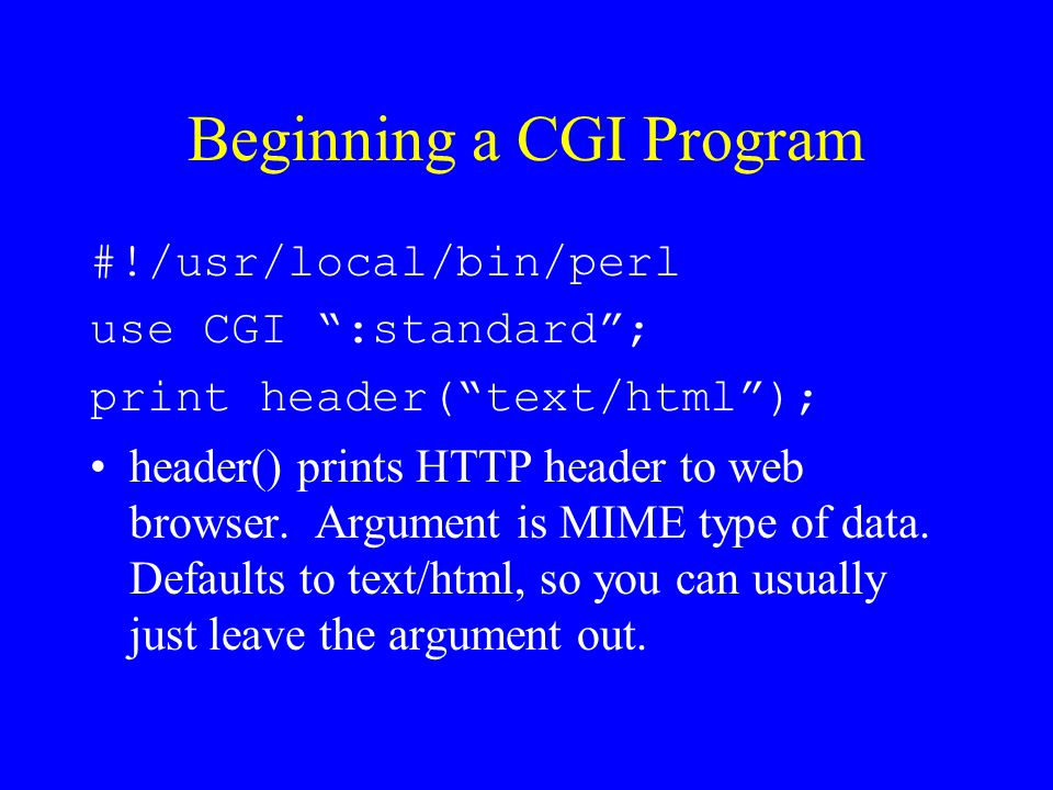 Beginning a CGI Program