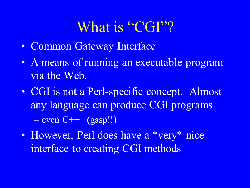 What is CGI Common Gateway Interface