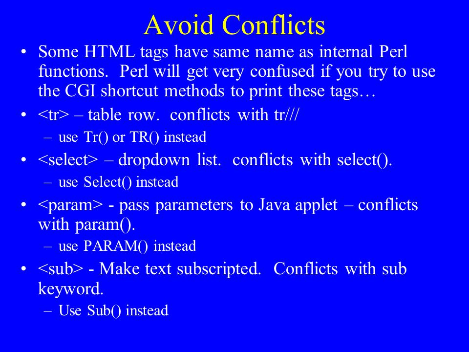 Avoid Conflicts