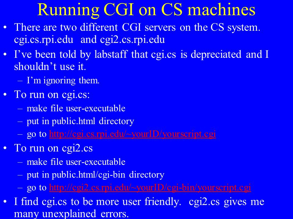 Running CGI on CS machines