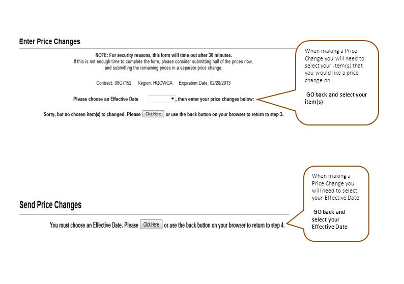 When making a Price Change you will need to select your item(s) that you would like a price change on