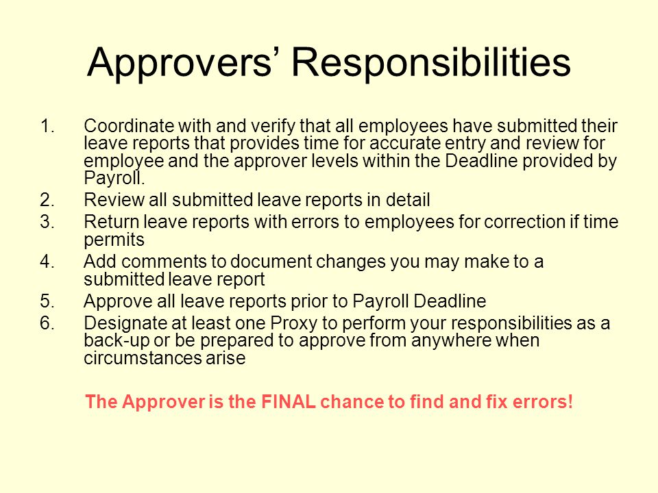 Approvers' Responsibilities