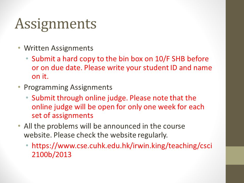 Assignments Written Assignments