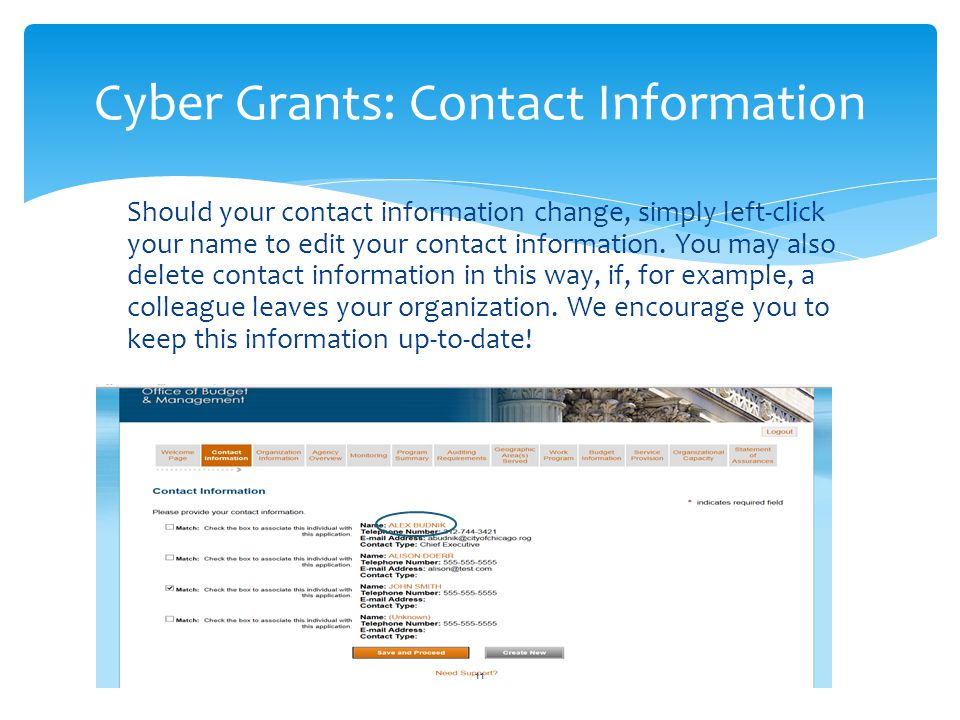 Cyber Grants: Contact Information