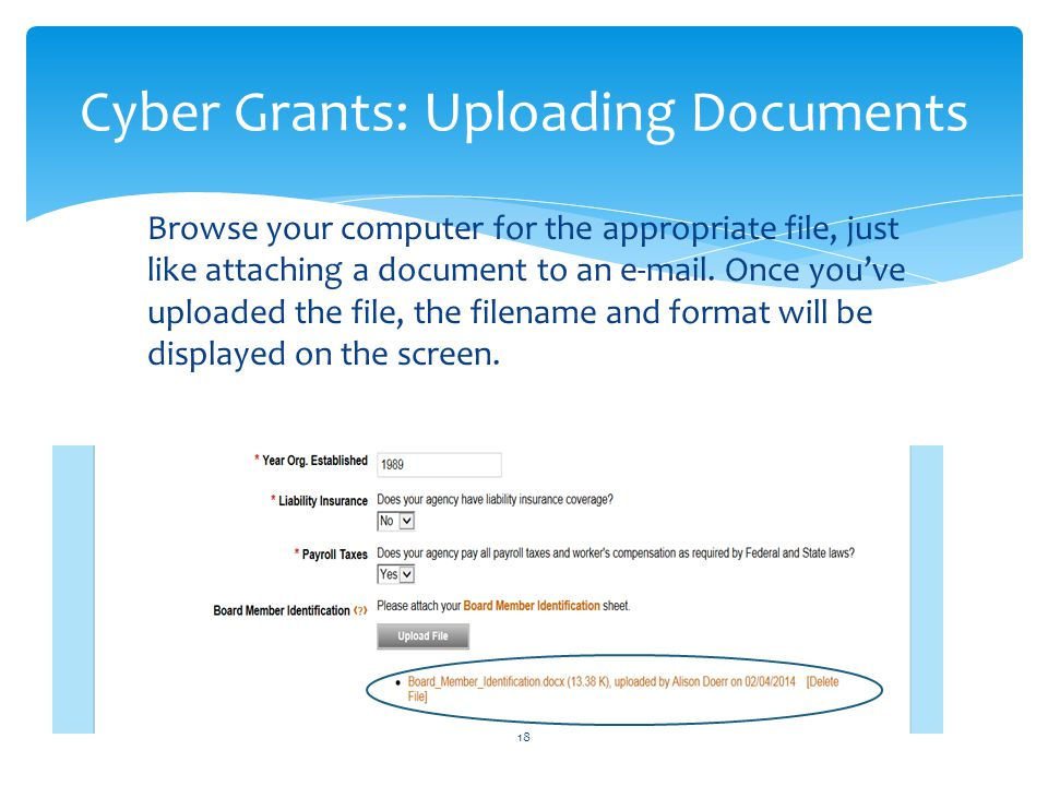 Cyber Grants: Uploading Documents