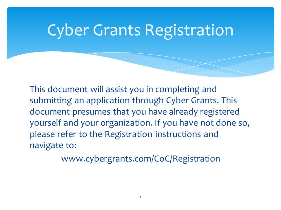 Cyber Grants Registration