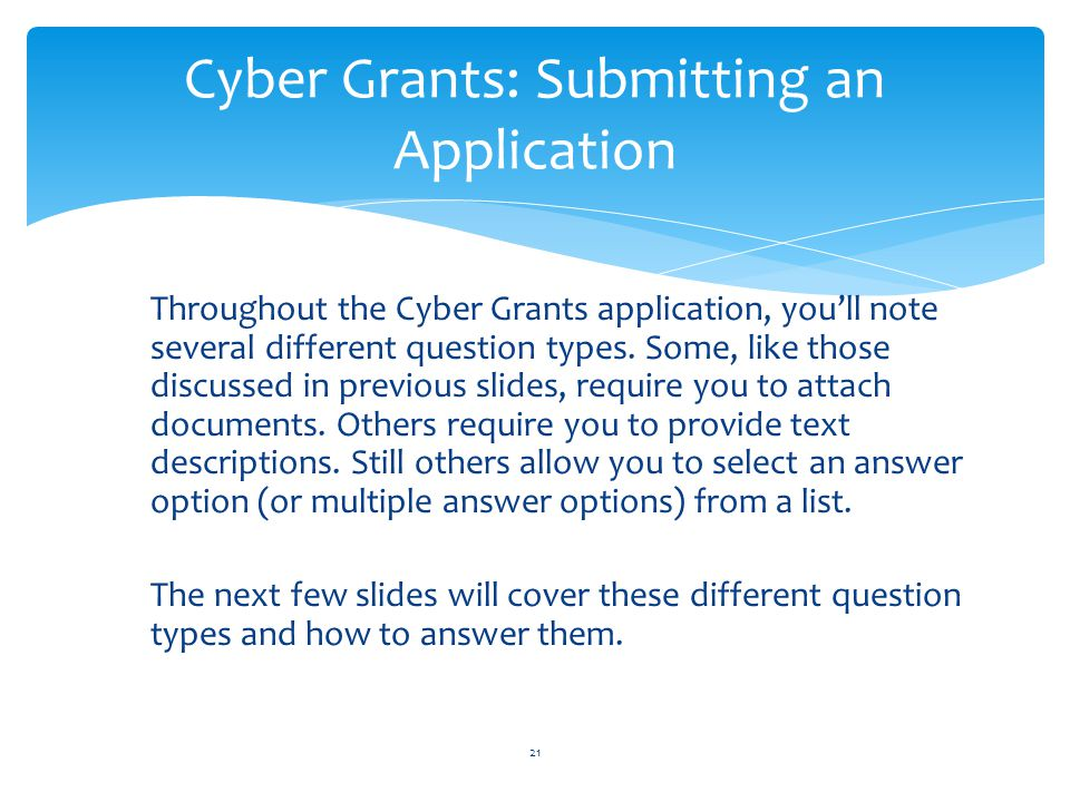 Cyber Grants: Submitting an Application
