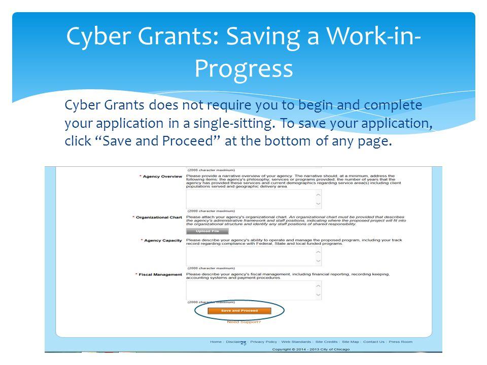 Cyber Grants: Saving a Work-in-Progress