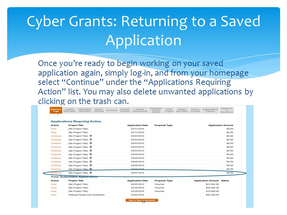 Cyber Grants: Returning to a Saved Application