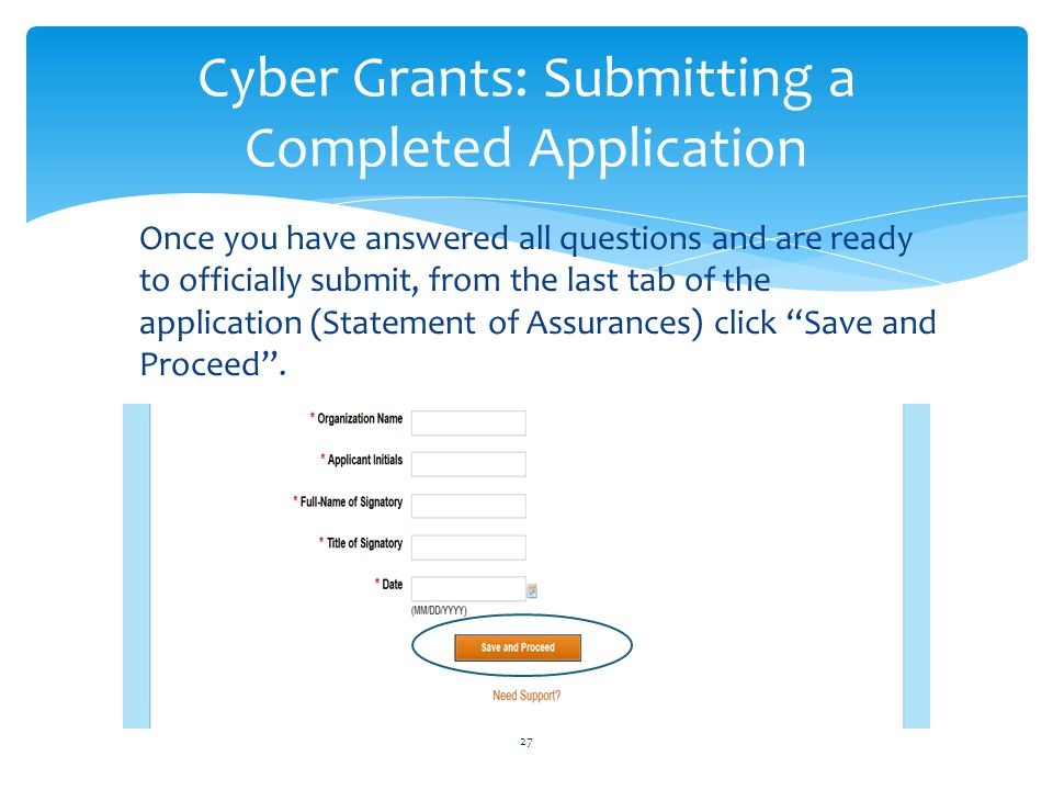 Cyber Grants: Submitting a Completed Application