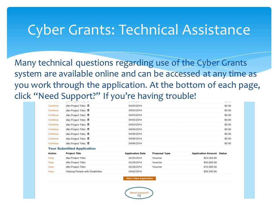 Cyber Grants: Technical Assistance