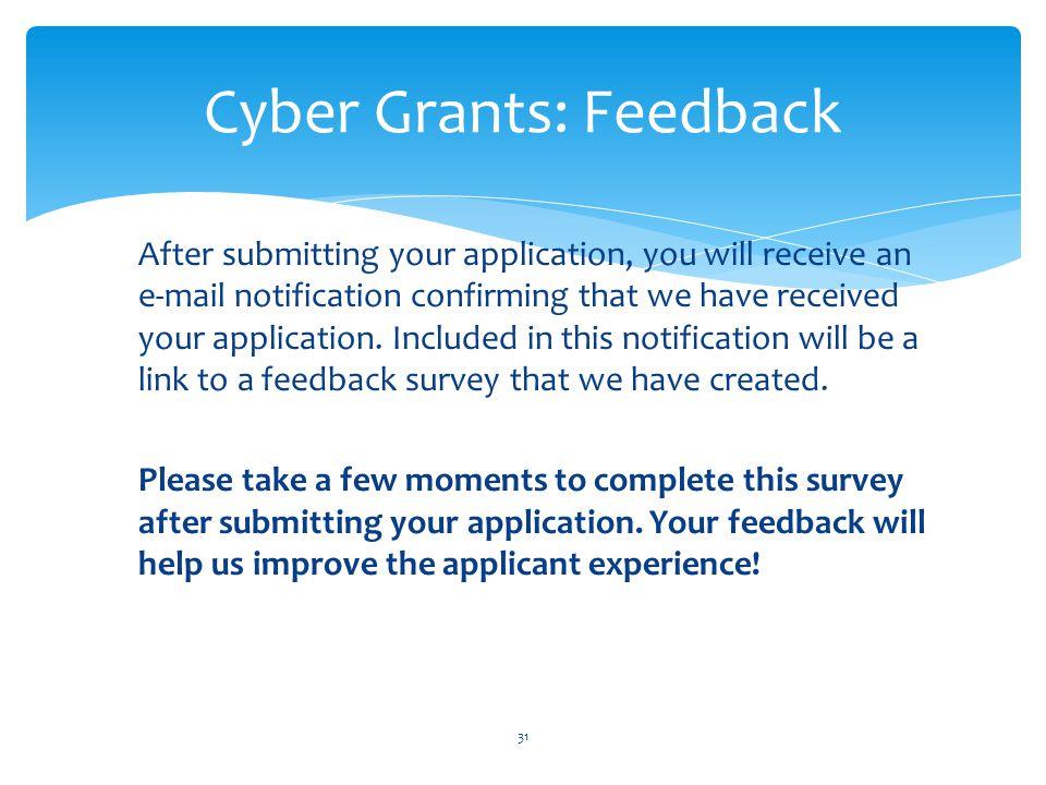 Cyber Grants: Feedback