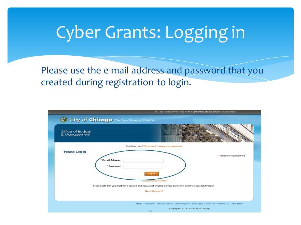 Cyber Grants: Logging in