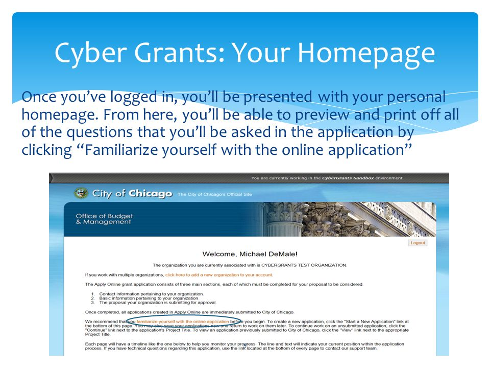 Cyber Grants: Your Homepage
