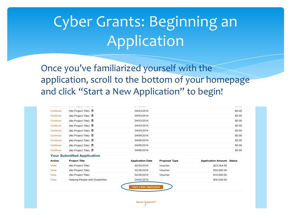 Cyber Grants: Beginning an Application