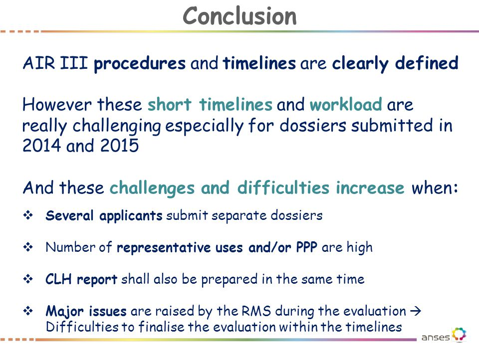 Conclusion AIR III procedures and timelines are clearly defined