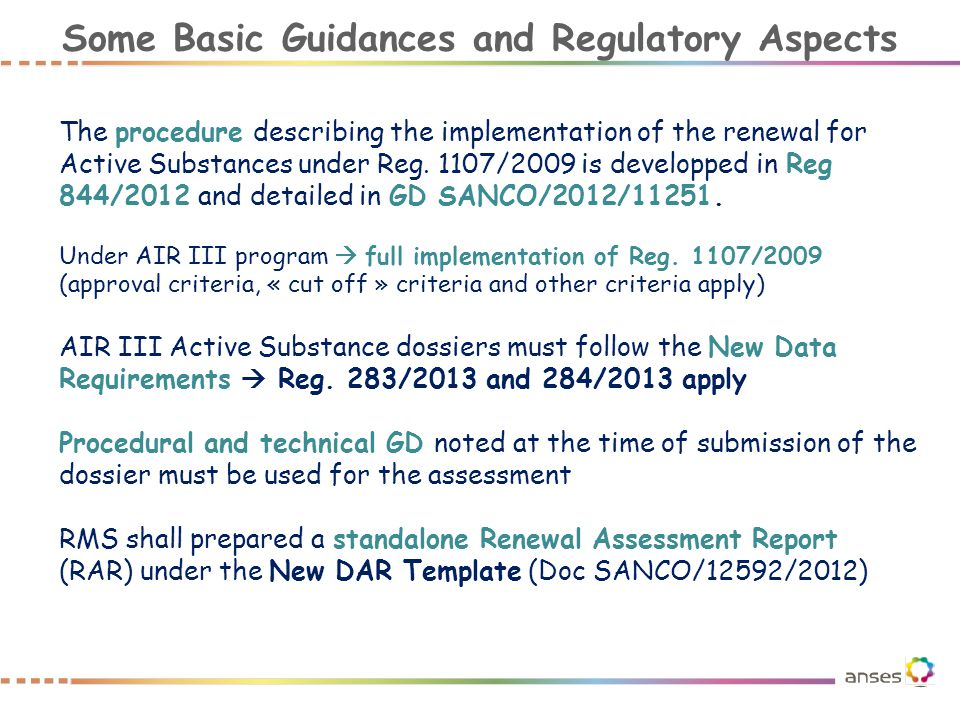 Some Basic Guidances and Regulatory Aspects