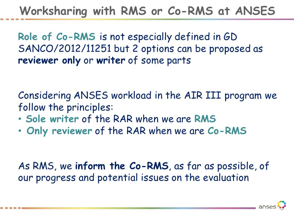 Worksharing with RMS or Co-RMS at ANSES