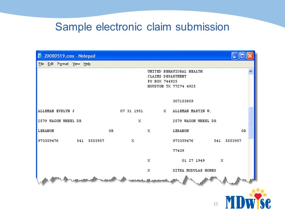 Sample electronic claim submission